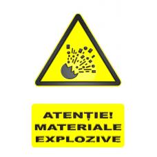 indicatoare de avertizare atentie materiale explozive