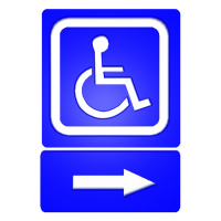 indicatoare cu sens de mers pentru persoane cu dizabilitati